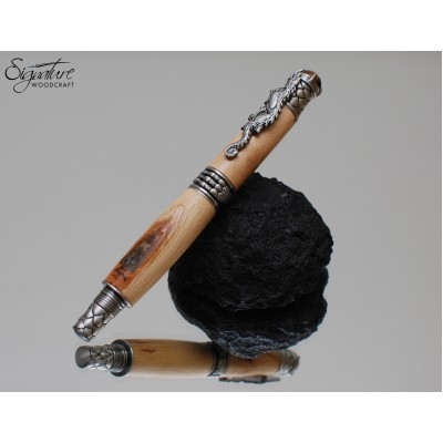 #192 - Dragon Themed Fountain Pen in Dark Hedges Beech (Antique Pewter)